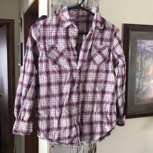 Arizona Boys Plaid Flannel Shirt L